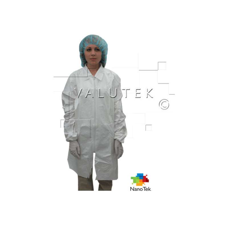 Nano Tek® Cleanroom Disposable Microporous Lab Coats with Elastic Cuff and Zippered Closure, 1 Pocket, 2X-Large, 5 per Package