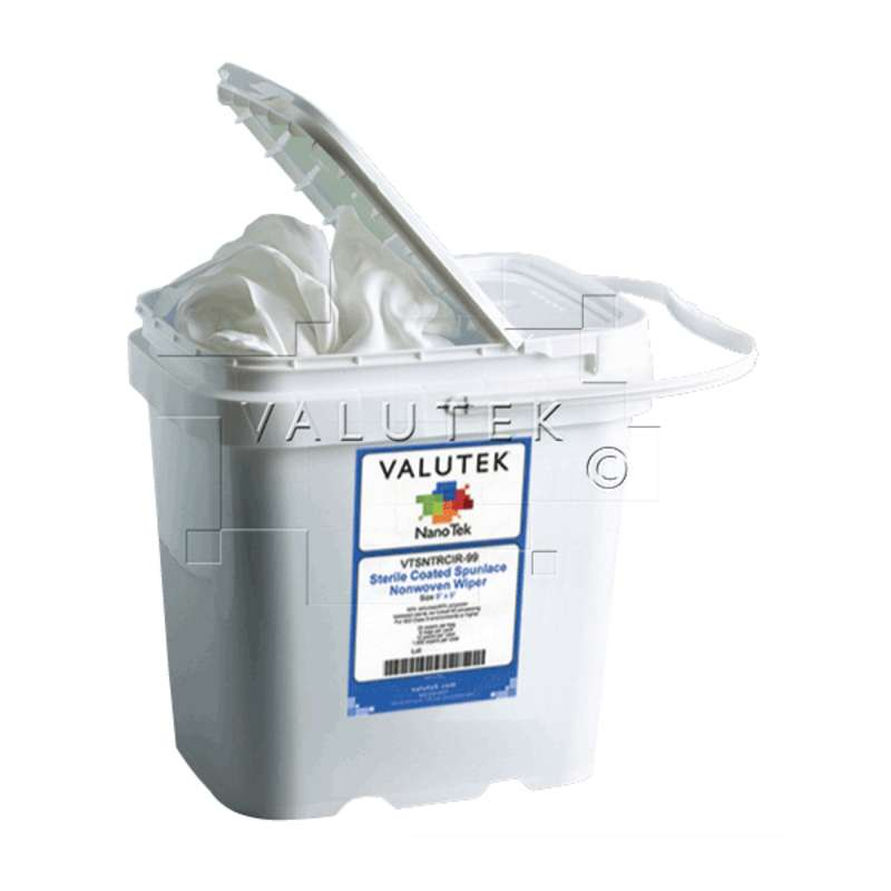"""ValuSat™ Cleanroom Disposable 70% IPA Pre-Saturated Non-Woven Wipes, 9 x 9"""", 75 per Pail"""