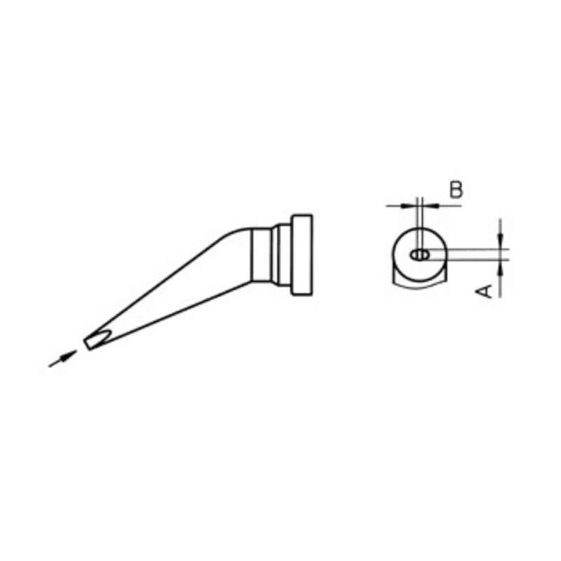 """LT Series Bent Chisel Solder Tip for WSP80, .024"""" x .016"""""""