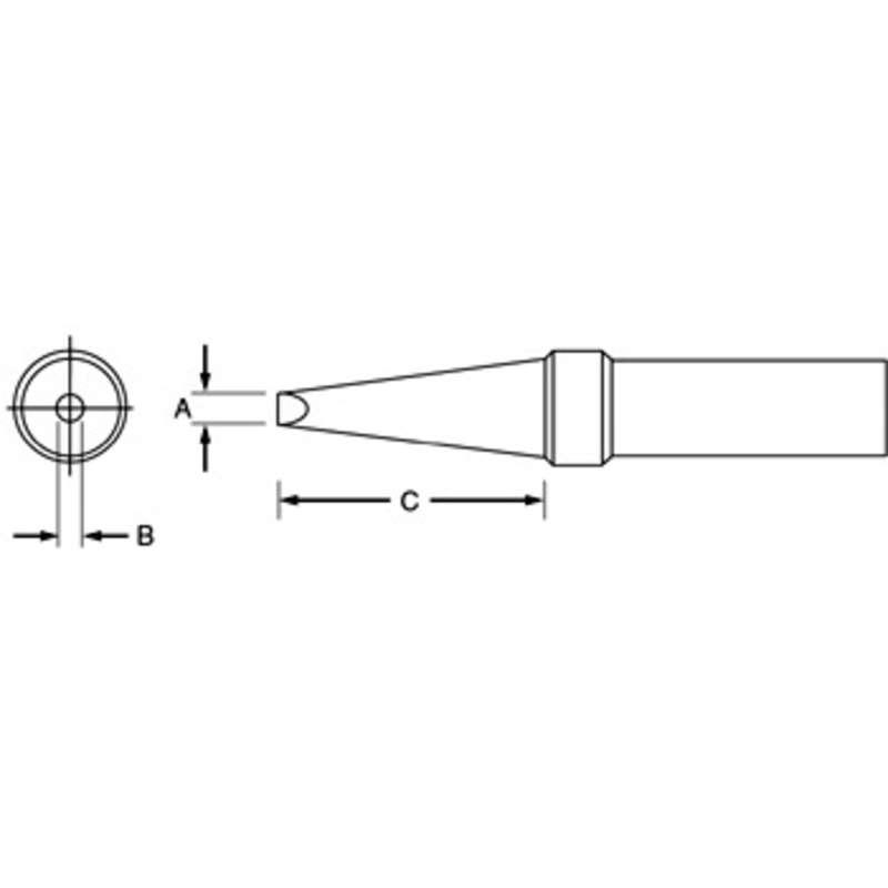 "PT Series Single Flat Solder Tip, 700°F for TC201 Iron, .062"""