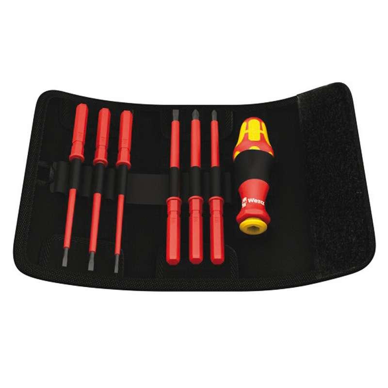 Kraftform Kompakt® Insulated VDE Bit Holder, Voltage Tester, and Blades with Belt Pouch, 7 Pieces