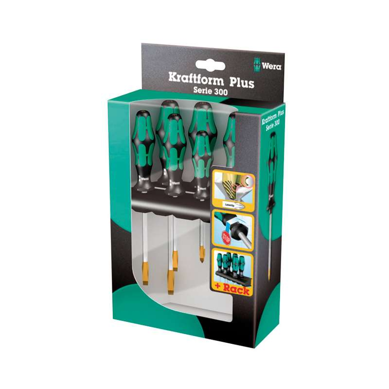 Kraftform® Plus Series 300 Slotted and Phillips Screwdriver Set with Hexagonal Blades and Rack, 6 Pieces