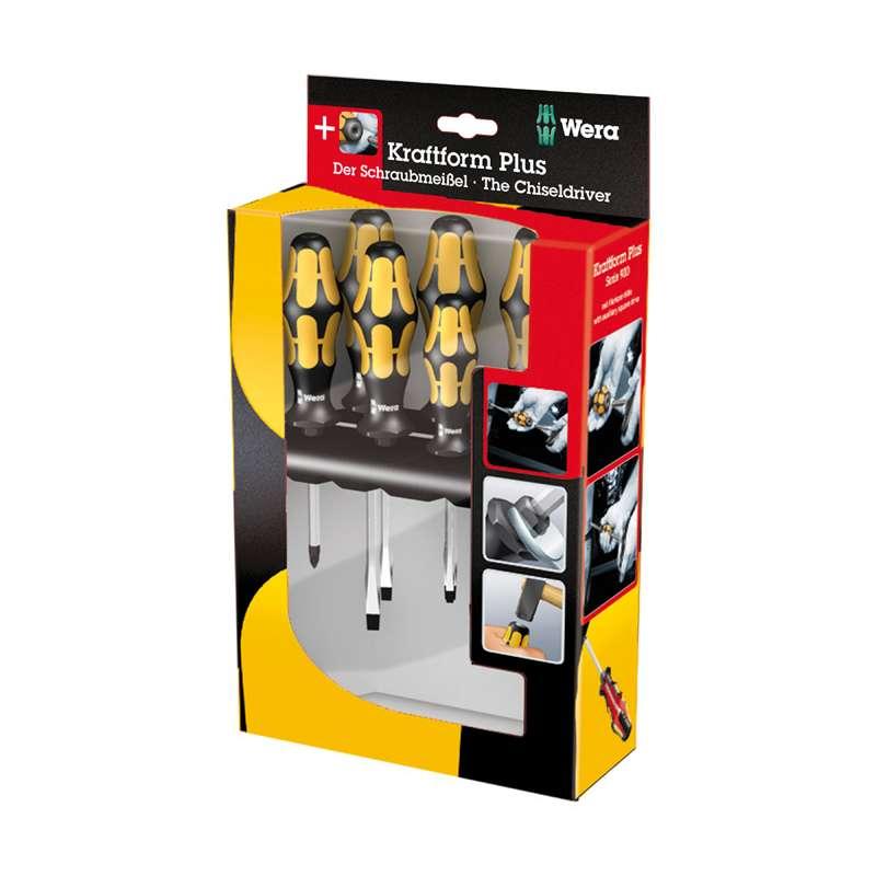 Slotted and Phillips Kraftform® Chiseldriver Set, 6 Pieces