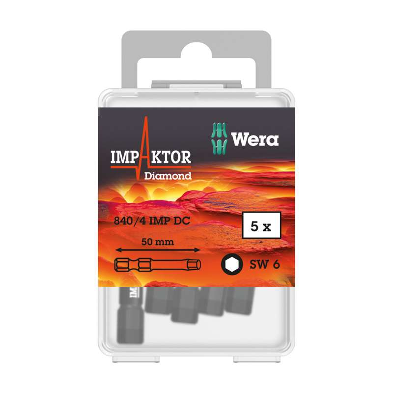 Wera 057646 6 x 50mm Hex Impaktor Diamond Coated Power Bit