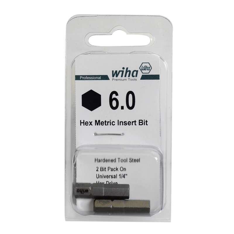 "Hex Head Insert Bit for 1/4"" Hex Drive, 6mm x 1"" Long"