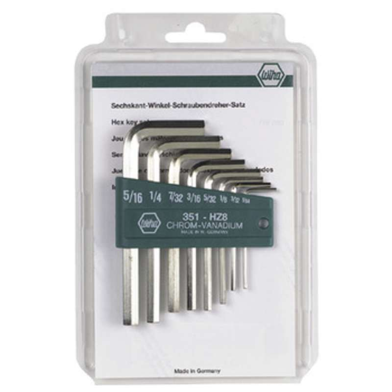 Hex Short Arm L-wrench Keys Inch set 8 Piece