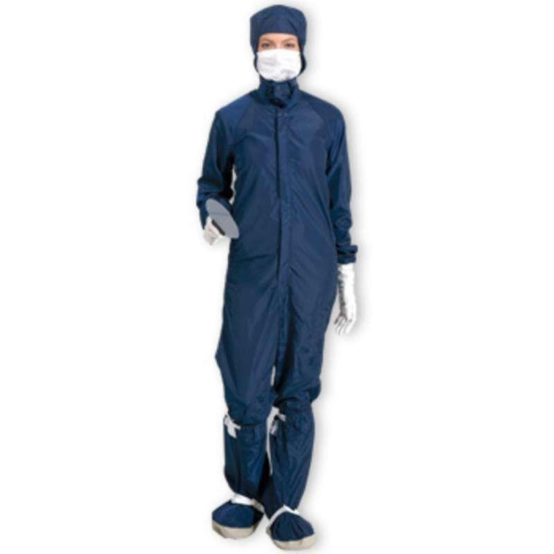 SC-3 ESD-Safe Cleanroom Raglan Sleeve Coverall with Zipper, Navy, Medium