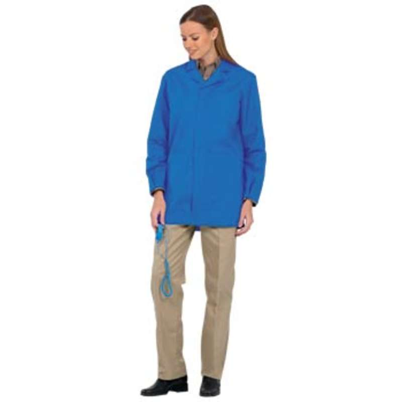 "Microstat ESD-Safe Unisex 33"" Lab Jacket with Adjustable Wrist Snaps, Royal, 2X-Large"