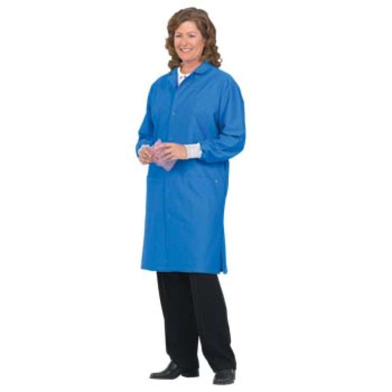 """98/Two ESD-Safe Unisex 41"""" Coat with Cuff and Ground Snap, Royal Blue, Medium"""