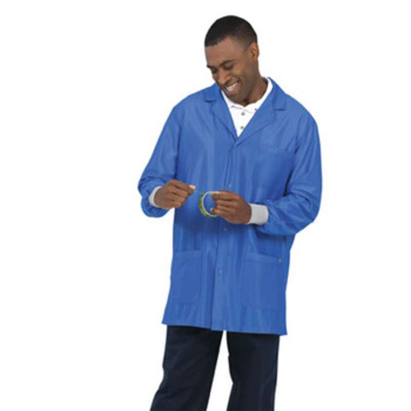 """Work-Stat ESD-Safe Unisex Lightweight Jacket with Cuffs, Two Ground Snaps and Lapel Collar, 33"""" Royal Blue, Small"""