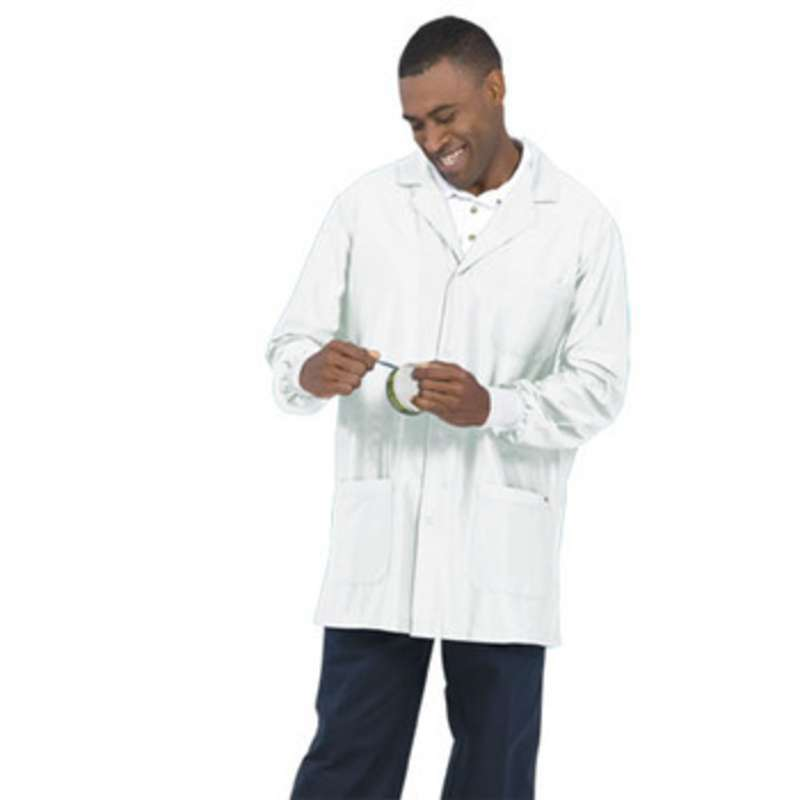 """Work-Stat ESD-Safe Unisex Lightweight Jacket with Cuffs, Two Ground Snaps and Lapel Collar, 33"""" White, X-Small"""