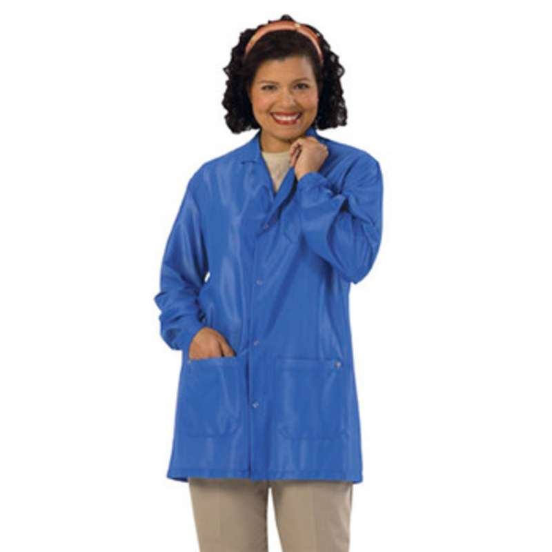 "Work-Stat ESD-Safe Unisex Lightweight Jacket with Two Ground Snaps and Lapel Collar, 33"" Royal Blue, X-Large"