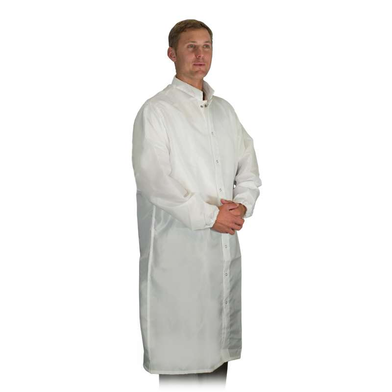 """LD-100 System Unisex White Frock with Elasticized Wrists, Snap Closure and Collar, 47-1/4"""" Length, Large"""