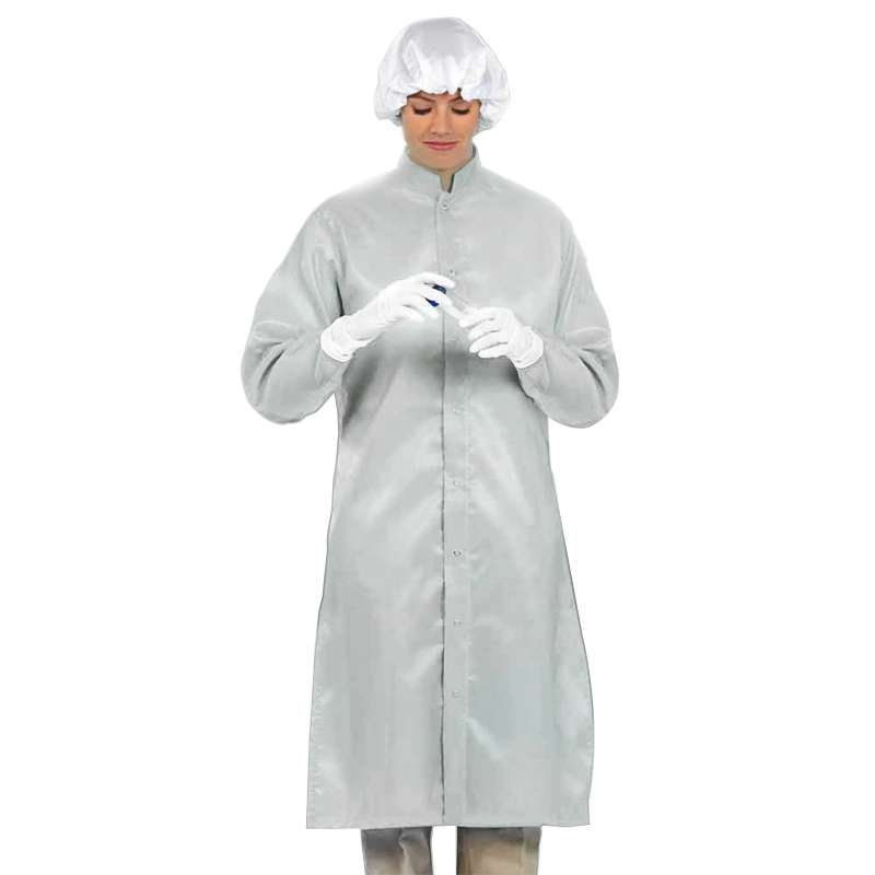 "LD-100 System Unisex White Frock with Adjustable Snaps at Wrists and Collar, 47-1/4"" Length, Large"