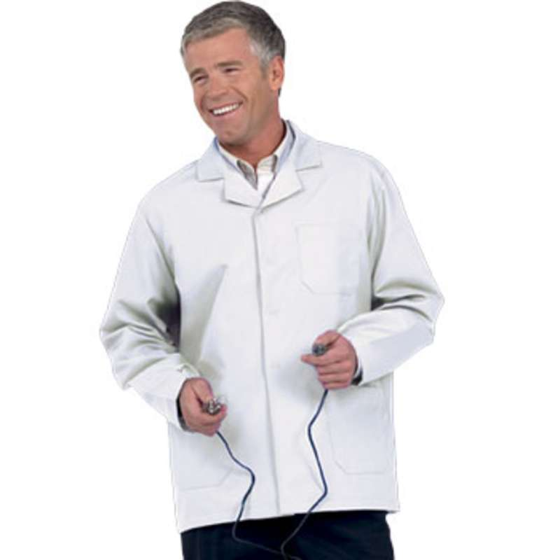 "Microstat ESD-Safe Heavy Weight Unisex 30"" Short Lab Coat, White, X-Small"