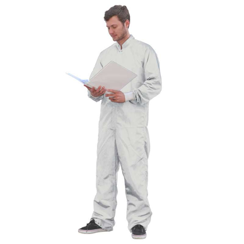 SC-3 ESD-Safe Cleanroom Coverall with Raglan Sleeves and Zipper, White, X-Small