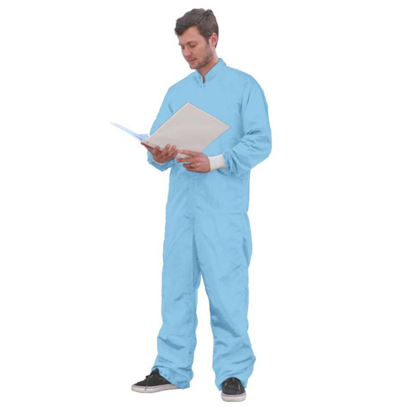 SC-3 ESD-Safe Cleanroom Coverall with Raglan Sleeves and Zipper, Blue, Small