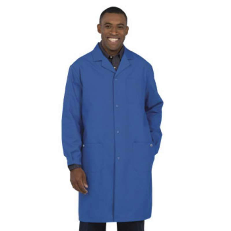 """Work-Stat ESD-Safe Unisex Lightweight Lab Coat with Two Ground Snaps and Lapel Collar, 41"""" Royal Blue, Small"""