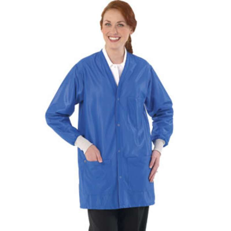 """Work-Stat ESD-Safe Unisex Lightweight Jacket with Cuffs, Two Ground Snaps and V-Neck, 33"""" Royal Blue, X-Large"""