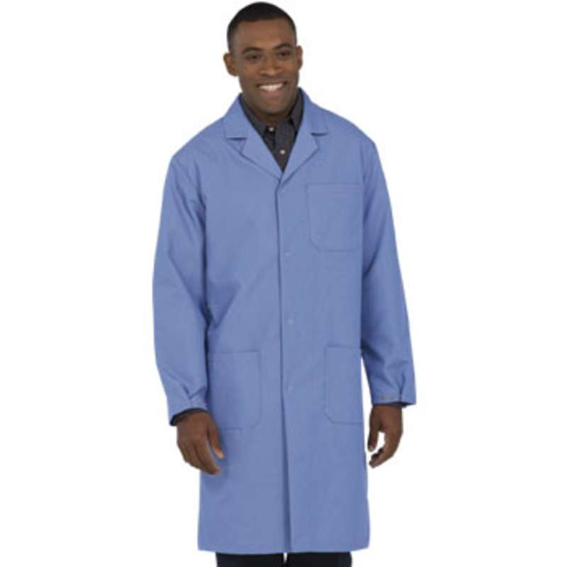 "Microstat ESD-Safe Heavy Weight Unisex 41"" Lab Coat, Silica Blue, 4X-Large"