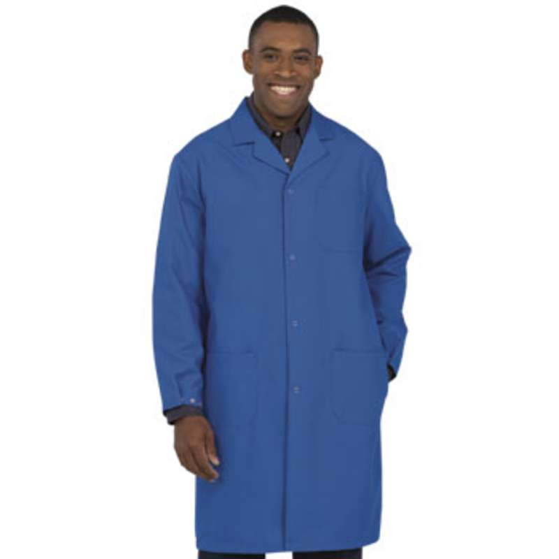 """Microstat ESD-Safe Heavy Weight Unisex 41"""" Lab Coat, Royal Blue, Small"""