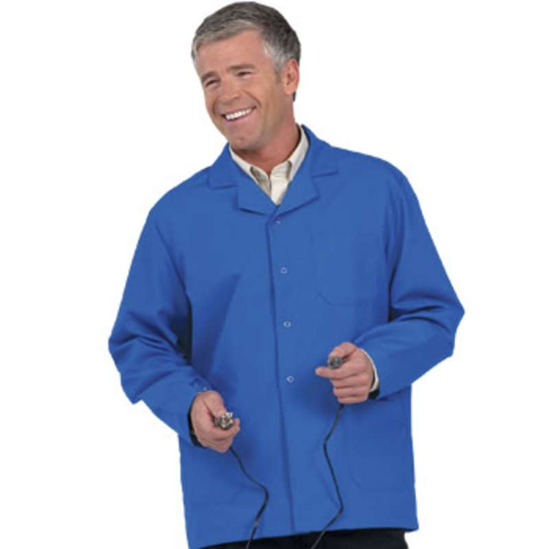 "Microstat ESD-Safe Heavy Weight Unisex 30"" Short Lab Coat, Royal Blue, X-Large"