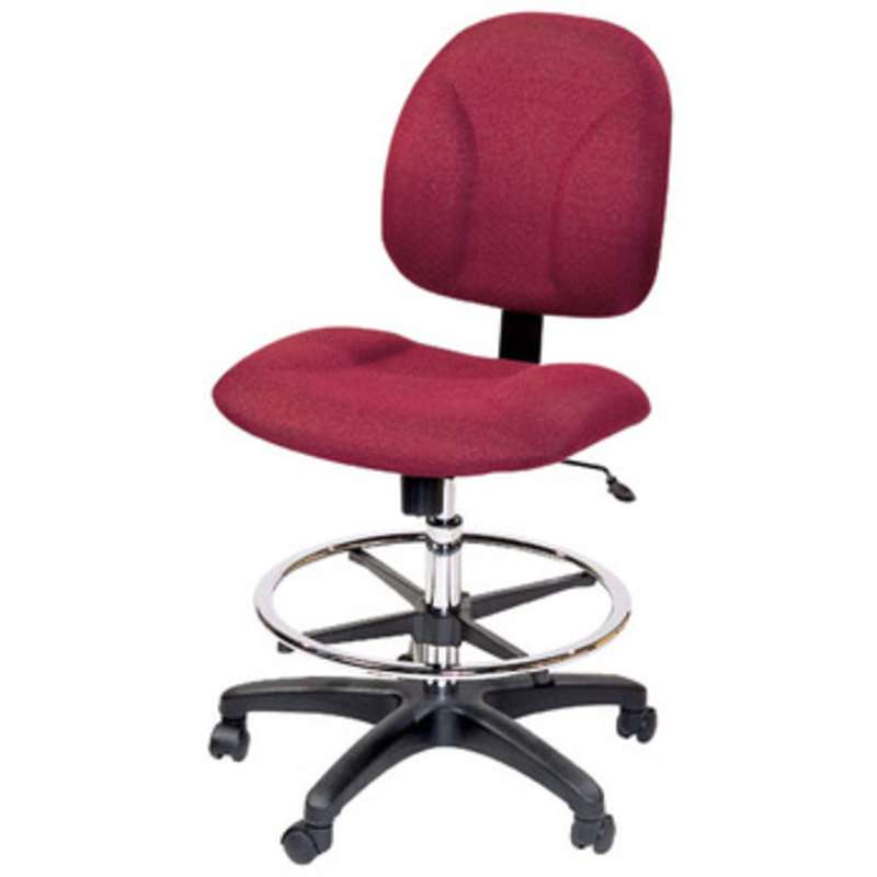 "ESD-Safe Adjustable 20-28"" Cloth Chair with Nylon Base, Drag Chain and Footring"