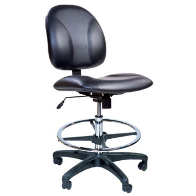 """Adjustable 20-28"""" Chair ESD Vinyl with Chrome Base, Conductive Casters and Footring"""