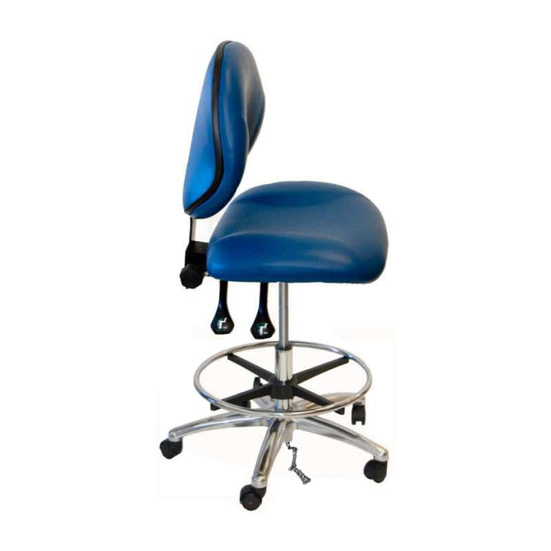 """Adjustable 20-28"""" ESD-Safe Clean-Room Vinyl Chair with Chrome Base and Footring"""