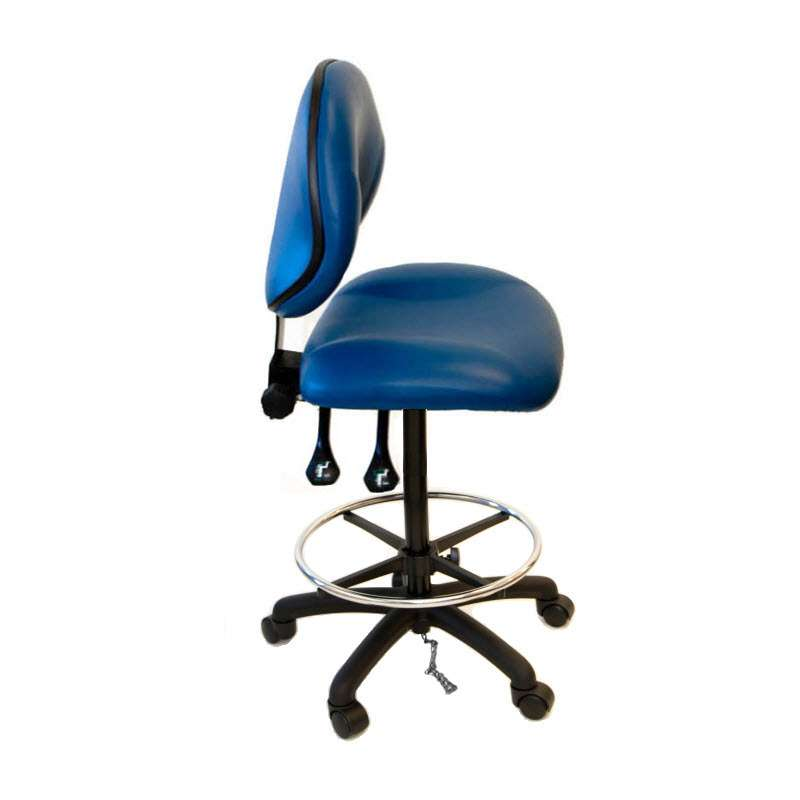 ESD-Safe Vinyl Chair, with Adjustable 20-28in Height, Lumbar Support, Nylon Base, Footring, Drag Chain and Casters