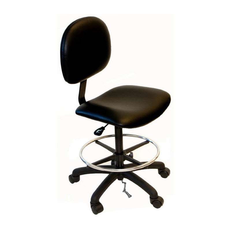 """Adjustable 20-28"""" ESD-Safe Cleanroom Vinyl Chair with Nylon Base and Footring"""