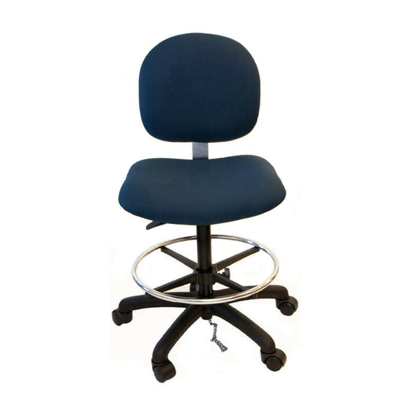 """Adjustable 20-28"""" ESD-Safe Fabric Chair with Nylon Base, Footring and Casters"""