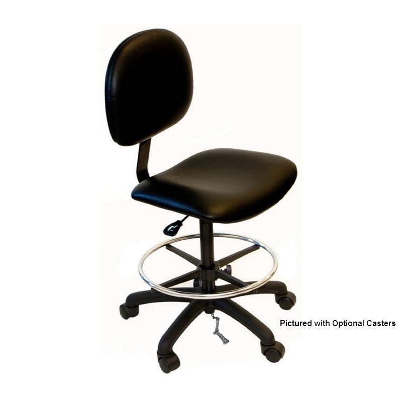 """Adjustable 20-28"""" ESD-Safe Vinyl Chair with Nylon Base, Footring and Glides"""