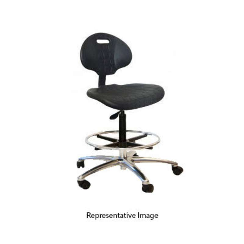 """ESD-Safe Adjustable 21-31"""" Black Polyurethane Chair with 20"""" Footring, Chrome Base and Conductive Casters"""