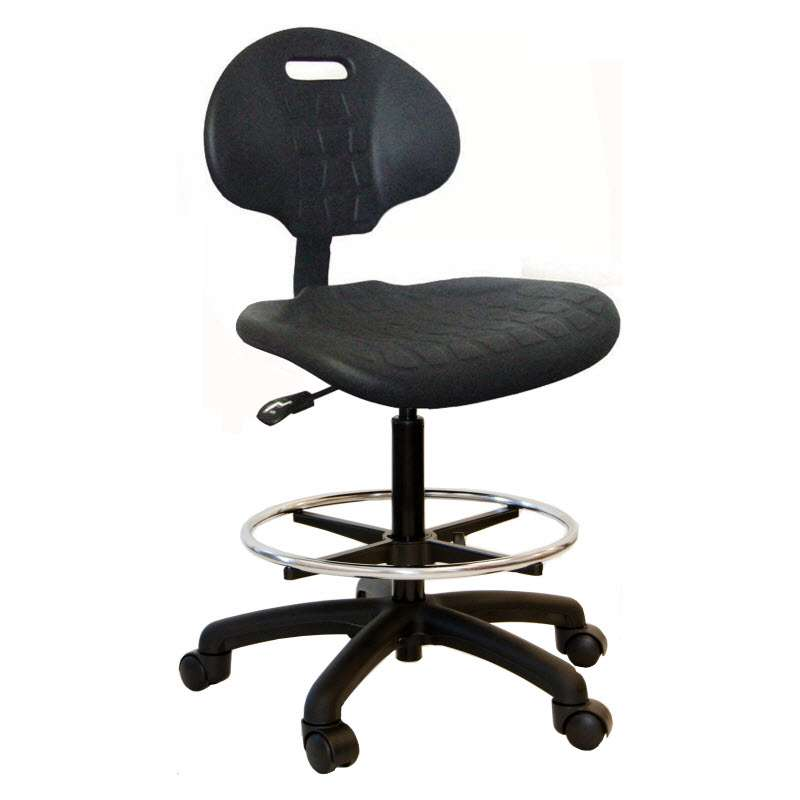 """Adjustable 21-31"""" Black Polyurethane Chair with Nylon Base, Casters and Footring"""