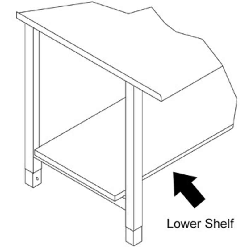 "Lower Metal Shelf, 15""D x 68""W, for 72"" Production Workbench"