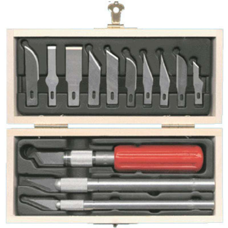 Precision Knife Set with Wooden Chest, 13 Pieces