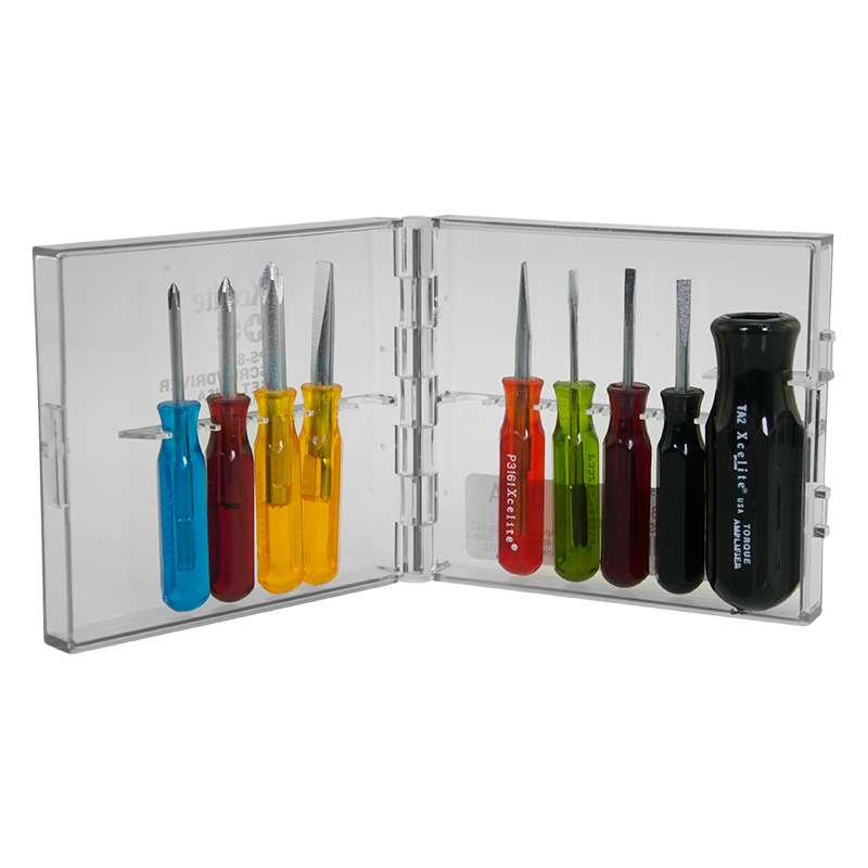 Color-Coded Compact Convertible Inch Screwdriver Set with Case, Carded, 9pc
