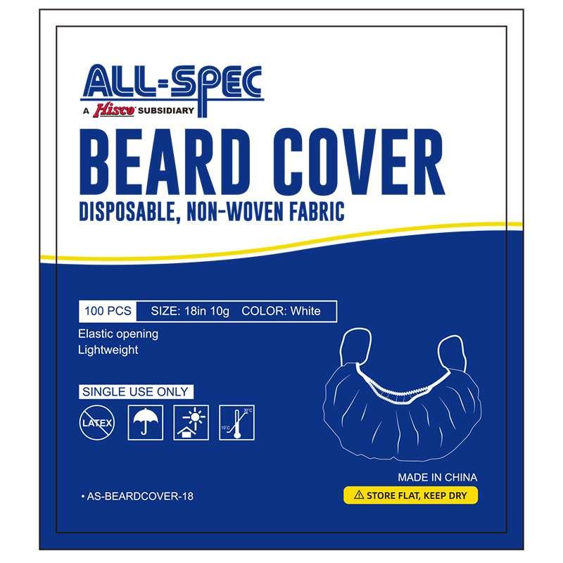 Disposable Non-Woven Beard Cover, White, 18