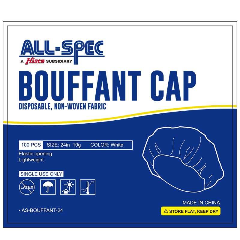 Disposable Non-Woven Bouffant Cap, White, 24
