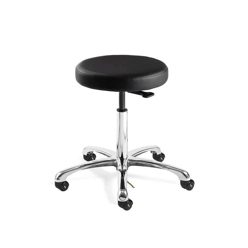 Versa Desk Height ESD Black Vinyl Backless Stool, Polished Aluminum Base, ESD Dual Wheel Hard Floor Casters