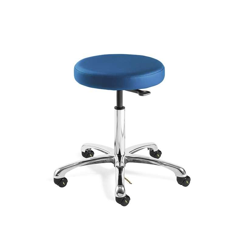Versa Tall Height ESD/ISO5 Cleanroom Blue Vinyl Backless Stool, Polished Aluminum Base, ESD Dual Wheel Hard Floor Casters