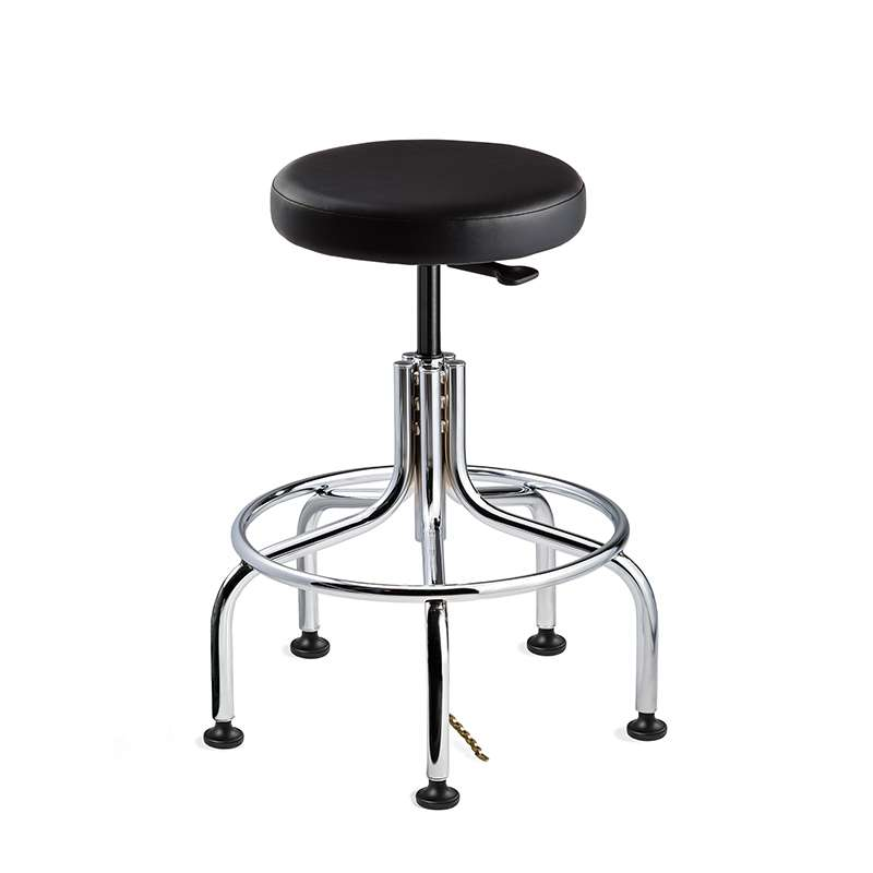 Versa Tall Height ESD Black Vinyl Backless Stool, Chrome Tubular Steel Base with Welded Footring
