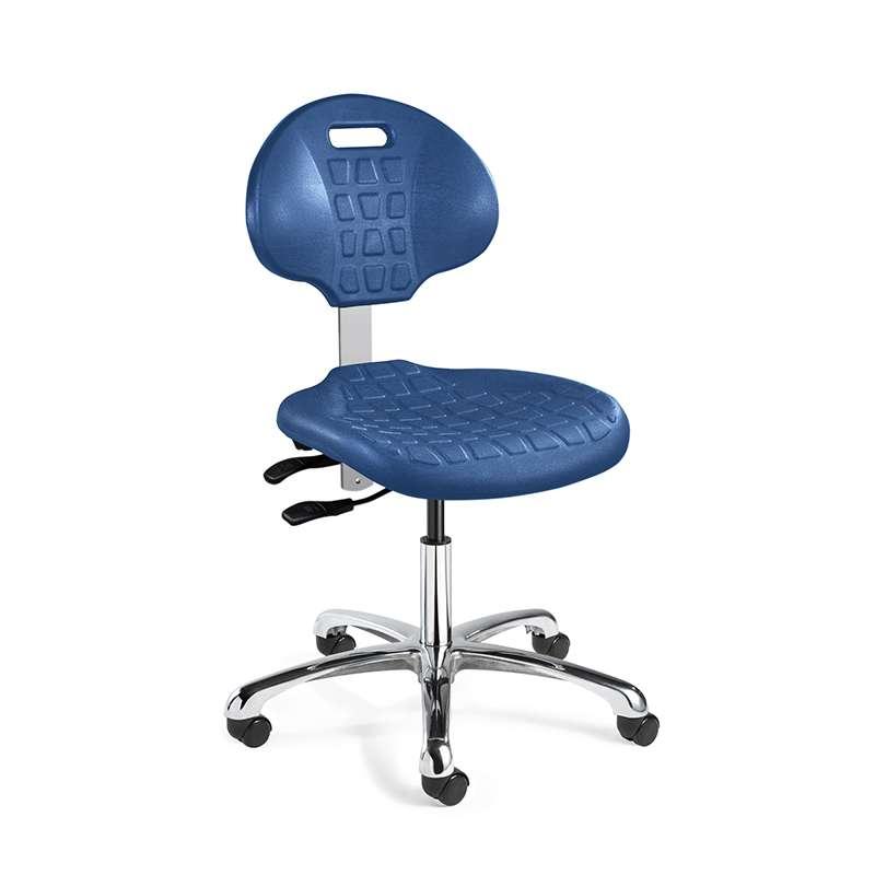 Everlast Desk Height Blue Polyurethane Chair, Articulating Seat & Back Tilt, Polished Aluminum Base, Dual-Wheel Hard Floor Casters