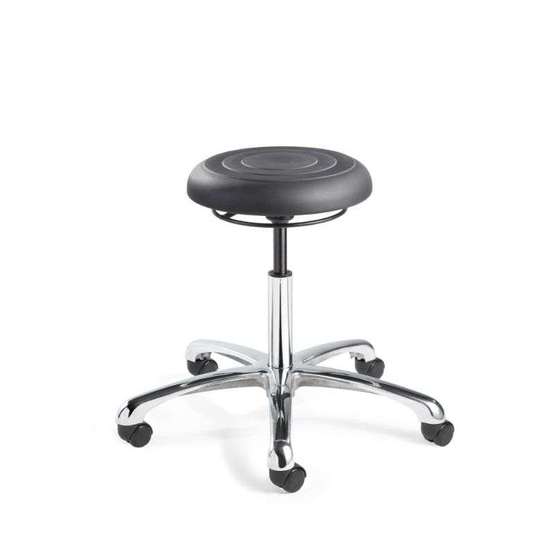 ErgoLux Jr Mid Height Soft Polyurethane Graphite Backless Stool, Polished Aluminum Base, Dual Wheel Hard Floor Casters
