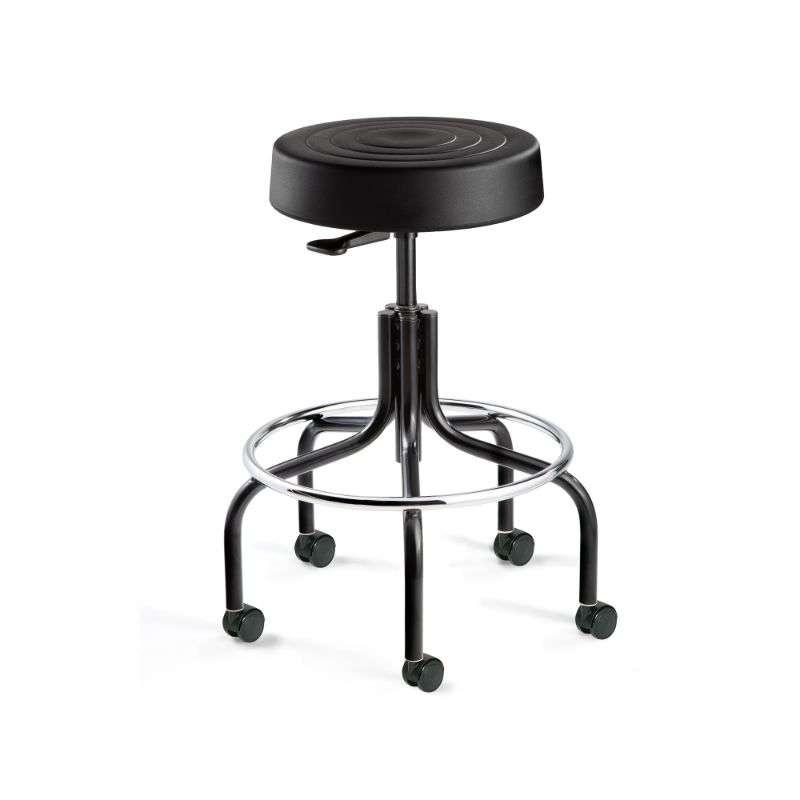 ErgoLux Mid Height Soft Polyurethane Black Backless Stool, Tubular Steel Base, Dual Wheel Hard Floor Casters