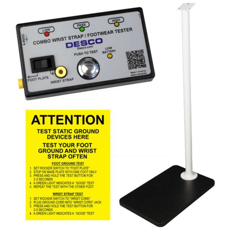 Combo Wrist Strap & Footwear Resistance Tester with Baseplate and Stand, 750 Kilohms to 10/100 Megohms