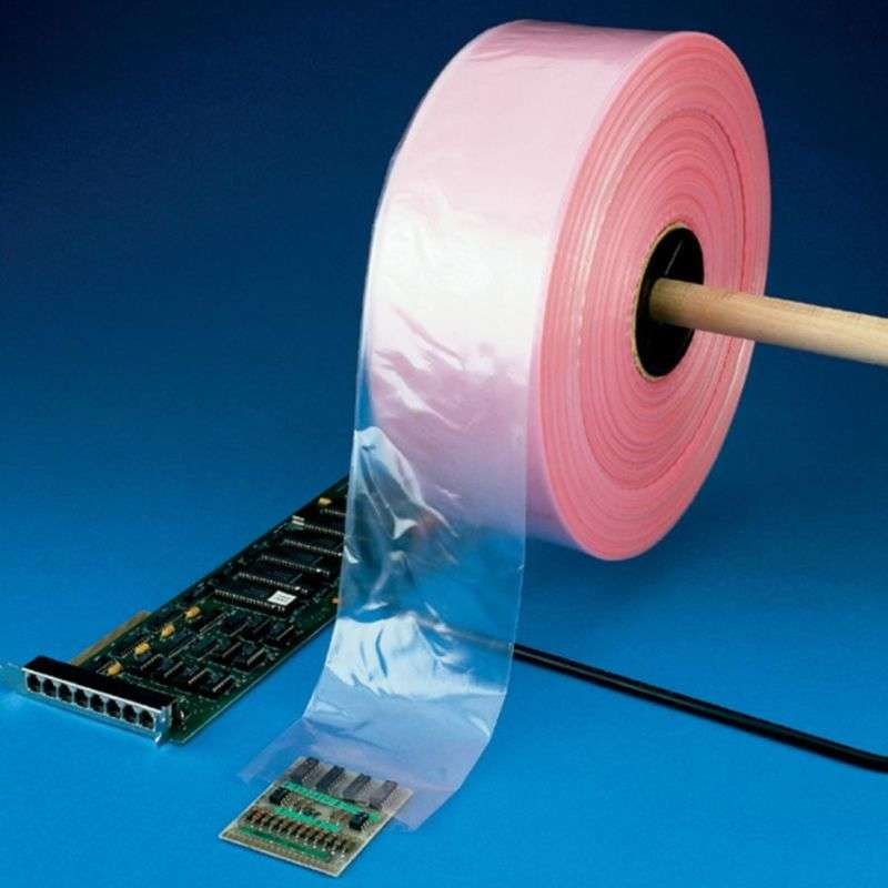 "Pink Antistatic Protective 8"" Poly Tubing, 4 Mil 8"" x 1075 Ft Roll"