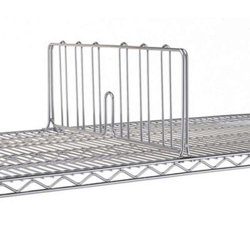 "Super Adjustable / Erecta Stainless Steel Shelf Divider for 36"" Wide Shelves, 8"" High"