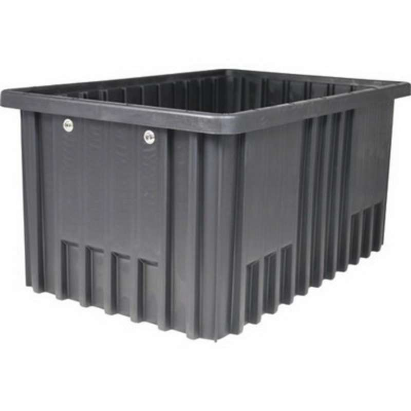 "Non-ESD Stackable Divider Tote Box, Natural Grey, 14-7/8 x 9-1/4 x 5-1/2"" ID (Dividers not Included)"